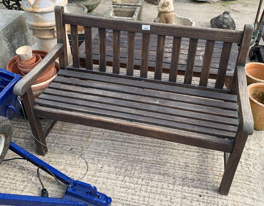 Wooden garden bench with matching table - Image 2 of 3