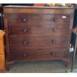 Victorian mahogany veneered chest of 2 short, 3 lo