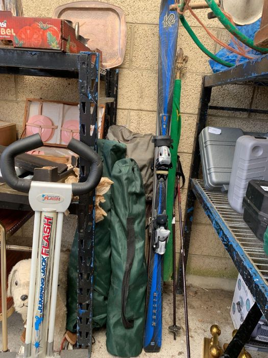 Various golf clubs & trollies together with skis & - Image 3 of 7