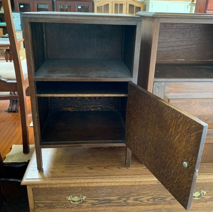 Stained oak bedside cabinet together with a mid 20 - Image 2 of 6