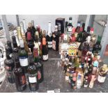 Large quantity of various port, wine & spirits to