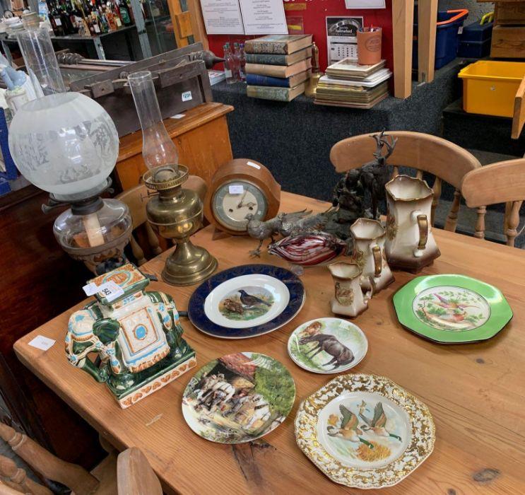 Ceramic elephant, oil lamps, 2 metal birds, Smiths