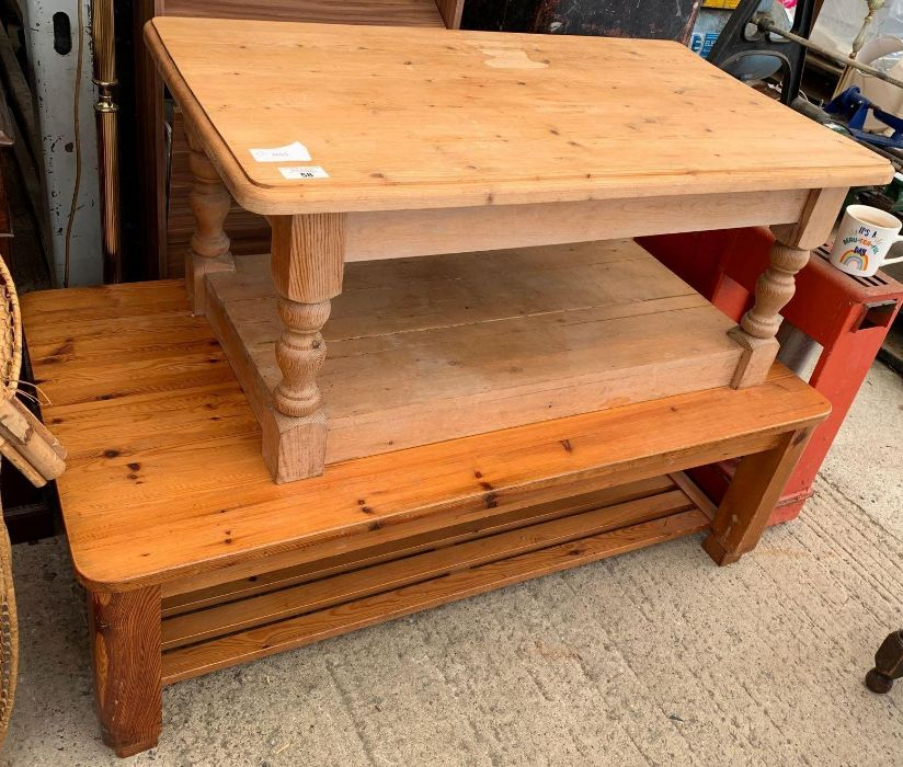 Pine coffee table together with a larger stained p