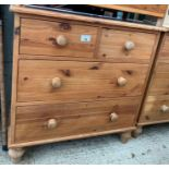 Modern pine chest of 2 short, 3 long drawers