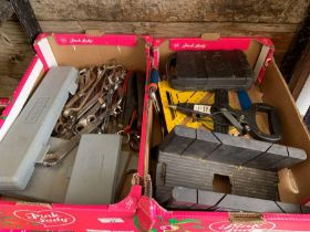2 boxes of assorted spanners, hand drill & other t