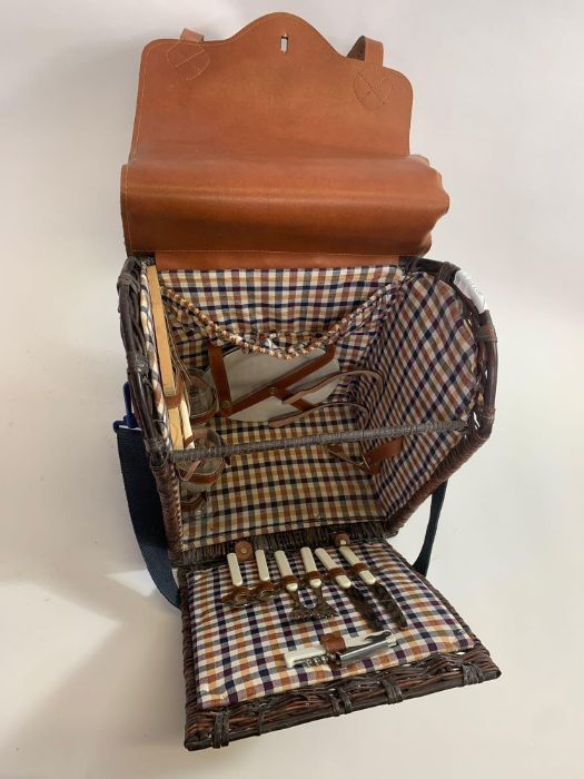 Leather/wicker picnic basket & pair of Art Deco st