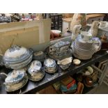 Various blue & white tureens on stands together