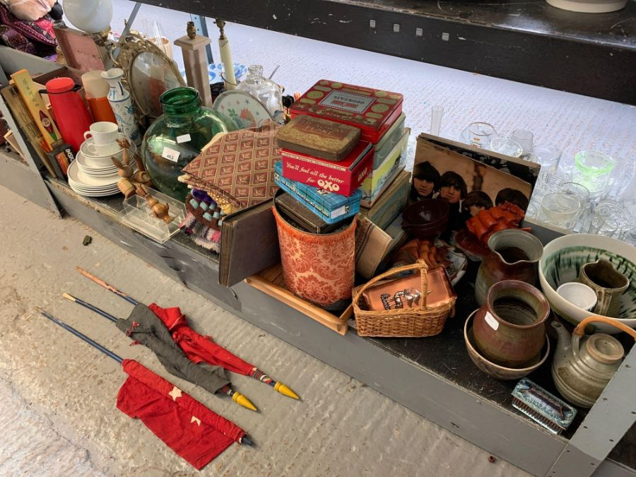 Shelf of china, old tins, flags & album of cigaret