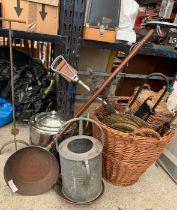Brass coal bucket, galvanized watering can with va