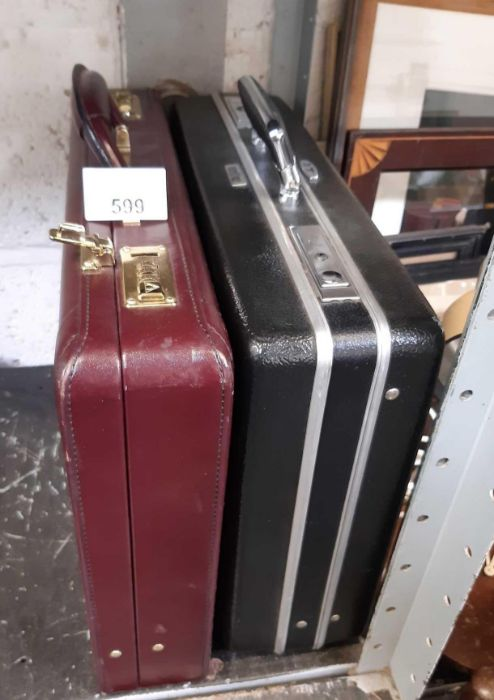Maroon leatherette briefcase & another briefcase