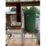 2 wooden chairs, wooden shelf & laundry basket