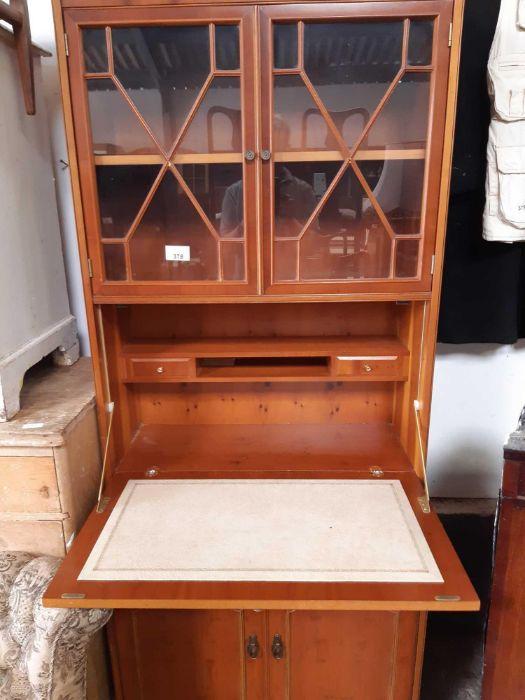 Modern yew wood bureau bookcase - Image 2 of 2