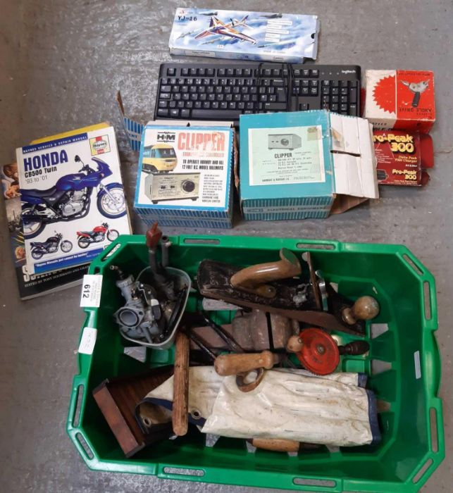 Box of garage items to include chargers & tools