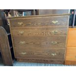 Modern oak chest of 4 long drawers on plinth base