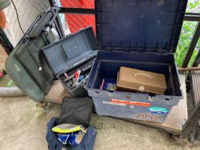 Fox Premier fishing chair together with toolbox &