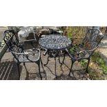 Black painted garden bistro set
