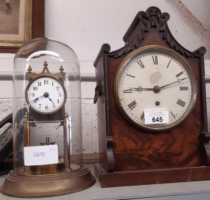 Victorian veneered mantle clock with carrying hand