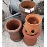 Terracotta chimney planter together with 2 smaller