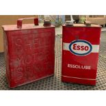 Vintage ESSO Essolube tin together with a SHELL m