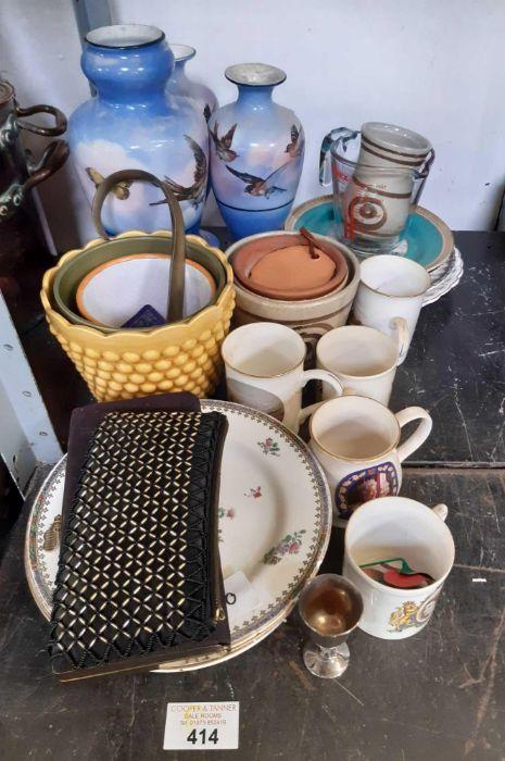 Half shelf of china, vases etc