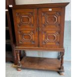 20th century oak cupboard on stand with molded dec