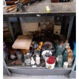 Pewter tankards, Portmeirion pots, stoneware bottl