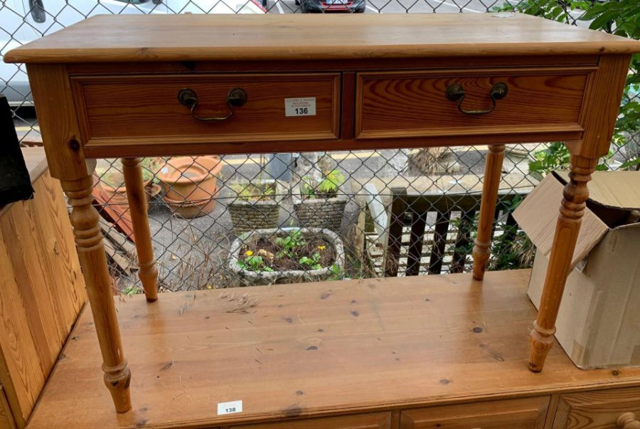Modern stained pine 2 drawer console table togethe