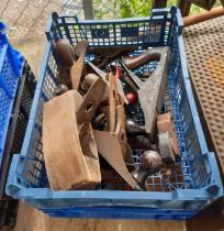 2 crates of assorted wood planes etc