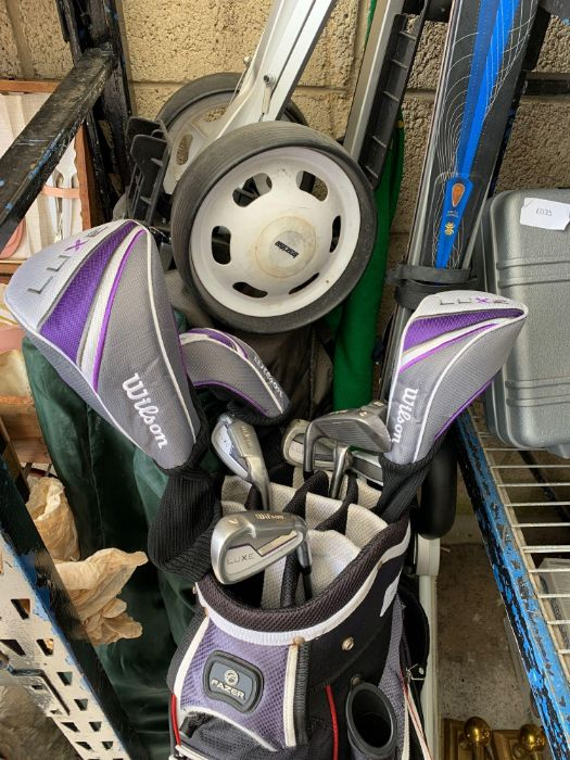 Various golf clubs & trollies together with skis & - Image 6 of 7