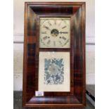 Veneered American wall clock with decorative flora