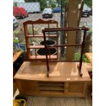Solid oak cabinet, pine towel rail & 1 other