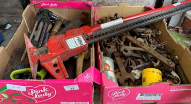 """Hilka 40"""" farm jack together with 2 boxes of assor"""