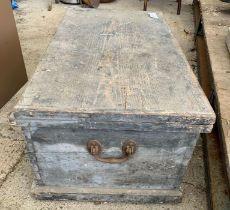 Vintage painted pine chest together with contents