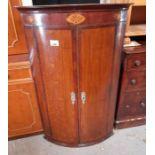 19th Century mahogany veneered corner cupboard