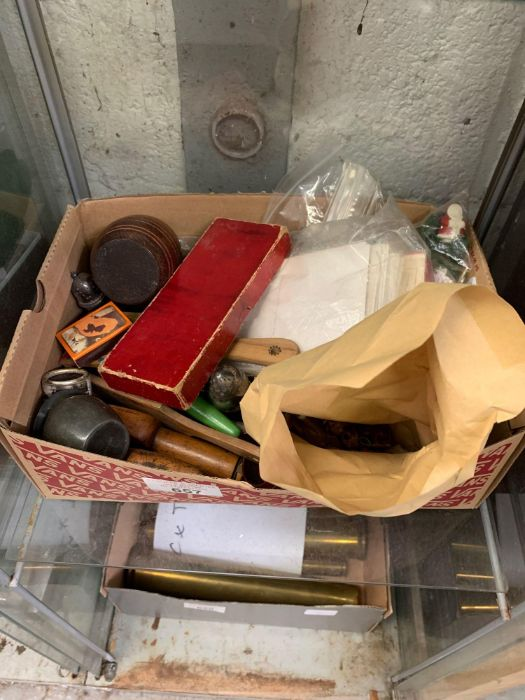 Box of collectables, knives, postcards, brass orna