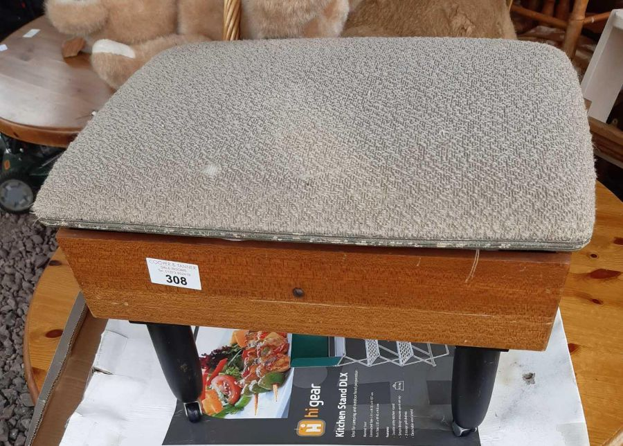 Mid 20th century sewing stool together with