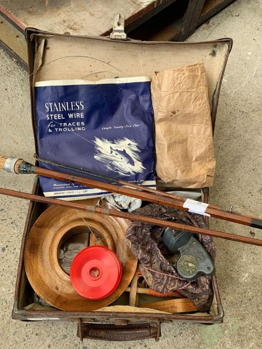 Vintage suitcase containing large wooden reel of f - Image 2 of 2