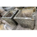 Pair of reconstituted stone square planters with d