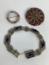 A continental lapis lazuli set bracelet, stamped '