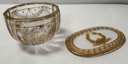 A late 19th/early 20th century facetted glass bowl