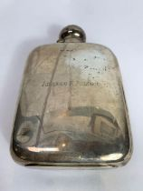 A large sized silver hip flask, by James Dixon & S