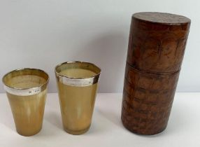 A pair of late Victorian graduated horn beakers, w