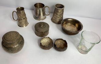 A collection of eastern metalware, comprising; a m