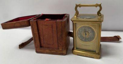 An early 20th century single train carriage clock