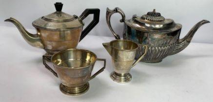 A silver three piece Art Deco tea service, by Jose