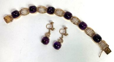 A continental amethyst bracelet, stamped makers ma