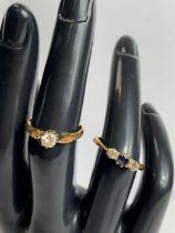 A single stone diamond 18 carat gold ring, the bri