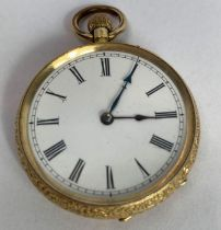 An open faced fob watch, white enamel dial, with b