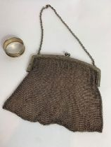 A silver chainmail evening bag, London 1923; with