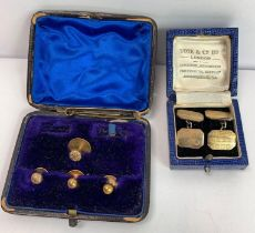 A pair of cufflinks, stamped '9ct on silver'; four